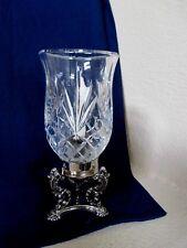 Vtg Godinger Silver Art Co. Hurricane Glass Candle Holder  Silver Plated Base