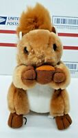 Applause Dakin Vintage Brown Plush Squirrel Holding Acorn Nut Bushy Furry Tail
