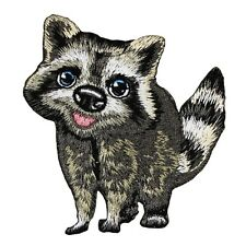 Cute Raccoon Cub Patch Baby Animal Nocturnal Forest Embroidered Iron-On Applique