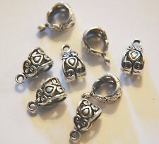 12 x Antiqued Tibetan Silver Decorative celtic heart Hanger Bail Bead ~ 14 mm