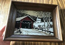 Framed Vintage Country Scene, Kay Dee 100% Pure Linen Hand Print 9x11