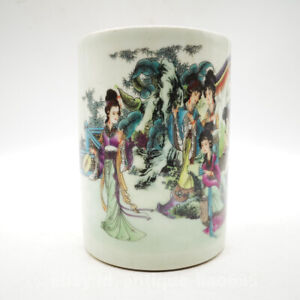 Chinese Famille-rose Porcelain Ancient Eight Beauty Woman Brush Pot Pencil Vase
