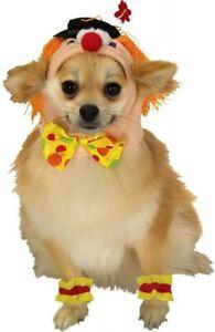 Clown Hood & Cuffs Fancy Dress Up Halloween Pet Dog Cat Costume Accessory