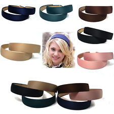 13 COLOR WIDE PLASTIC HEADBAND HAIR BAND ACCESSORY LOTS SATIN HEADWEAR #BLACK
