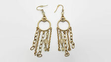 Gold Tone Chandelier Style Earrings With Beads