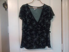 Casual Corner Annex Size L Blouse Floral Print Black/Light Green or Blue
