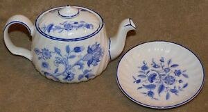 MINTON MINI ONE CUP TEAPOT WITH MATCHING SMALL PLATE - HARDWICK PATTERN