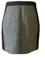 J. Crew Women's Wool Skirt Size 2 Black White Chevron Above Knee