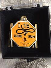 Salt Lake 2002 Winter Olympic Games Pin I-15 Luge Run Skiing Blinking Light Utah