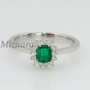 GLASS EMERALD & CZ 925 STERLING SILVER WOMENS STATEMENT ENGAGEMENT RING YP020