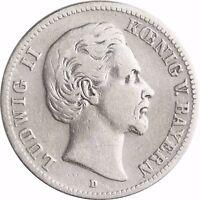 Jäger 41 - Ludwig II König von Bayern - 2 Mark Silber 1876 - 1883 in Münzkapsel