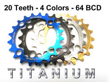 20T TITANIUM Chainring - 64 BCD - 43% lighter +17% torque - 4 Colors!!!
