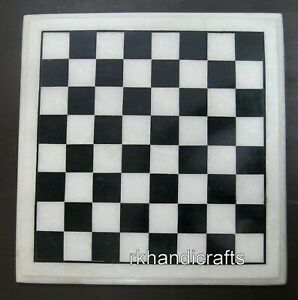12 x 12 Inches White Marble Coffee Table Top Square Chess Board table for Kids
