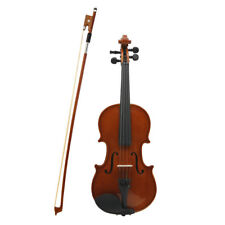 New 4/4 Solid Wood Natural Violin+Case+Bow+Rosin+Shoulder Res+Tuner for Beginner