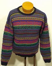 men's vintage color block sweater textured Biggie rap abstract size SMALL/MEDIUM