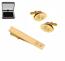 Personalized Stainless Steel Gold Oval Cufflinks & Tie Clip Set Engraved