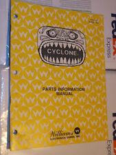 Flipper Cyclone Original Pièces information Manuel Williams flipper