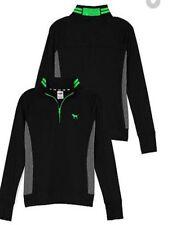 NWT VICTORIA SECRET PINK ULTIMATE Black Green Quarter Zip Pullover Jacket L NEW