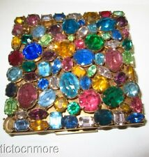 VINTAGE ELGIN AMERICAN PRONG-SET RHINESTONE JEWELED TOP MIRROR COMPACT