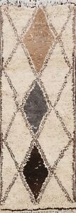 Vintage Plush Tribal Diamond Moroccan Natural Dye Area Rug Hand-knotted Wool 3x6
