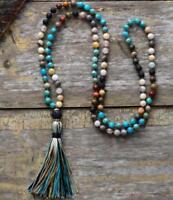 6mm imperial jasper 108 Buddha Beads Mala Tassels Necklace Yoga Healing Energy