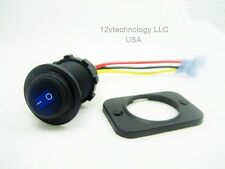 Waterproof Rocker Toggle Round Switch SPST Marine Socket 12 Volt Panel LED Blue