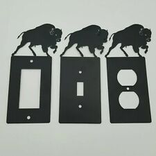 Wildlife Buffalo Black Outlet Covers Switch Plates Toggle Country Western Cabin