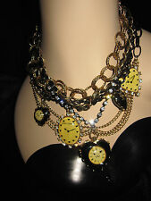 Betsey Johnson rare time flies clocks and locket multi chain statement necklace