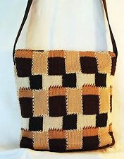 The SAK Bag Crochet Brown Patchwork Shoulder Bag Style Easy Carry Soft Purse