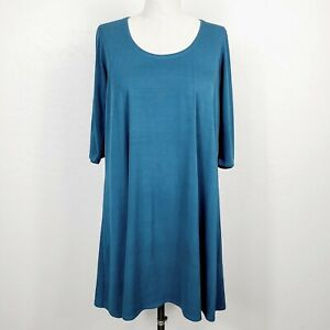 Eileen Fisher Tunic Top M Blue 100% Silk Stretch Knit Popover Short Sleeve Shirt