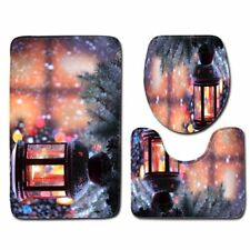 Anti Slip Bathroom Mats Polyester Toilet Seat Cover 3 Pcs Flannel Washroom Rug