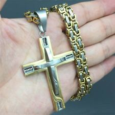 Mens Big Stainless Steel Gold Silver Two Tone Cross Pendant Chain Necklace
