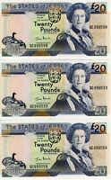 2000 Jersey £20 Pounds HIGH SERIAL No. QC999... 3 Banknotes P29a UNC