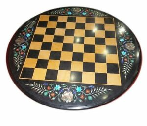 """18"""" Marble Chess Table Top Inlay Pietra Dura Floral Art Work"""
