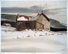 "Jack Reid ""Winter Barn"" Canadian CSPWC artist - Large exquisite image, PRISTINE"