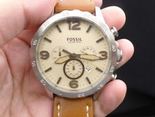 New Old Stock FOSSIL Nate JR1503 Chronograph Date Leather Strap Quartz Men Watch