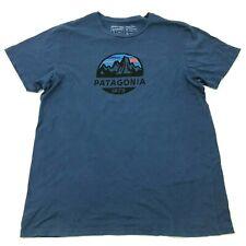 Patagonia Chemise Homme Grande Taille Coupe Slim Bleu Graphique Tee Coton Bio US
