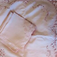 Pink Madeira Embroidered Cut Out Lace Linen Table Cloth 116 x 61 & 12 Napkins