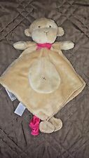 Carter's tan Monkey Security Blanket Lovey Brown Red Satin Bottom Bow Rattle