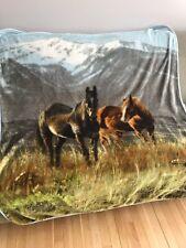 Northwest Company Horse Landscape Plush Fleece Blanket Throw Animal Print