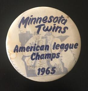 "1965 Minnesota Twins Baseball American League Champs World Series 3 1/2"" Button"