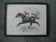 Jose Luis Rey Vila (1900-1983) original Watercolor of Race Horses & Jockeys
