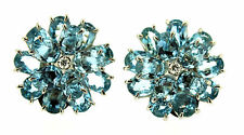 CARTIER Vintage Oval Aquamarine Diamond Flower Clip On Cluster Earrings