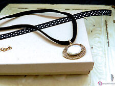 """SARA BLAINE Moonlight Mother-of-Pearl & Brass Pendant Necklace ~ 16-18"""""""