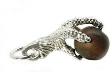 STERLING SILVER LUCKY TOUCH WUD WOOD EAGLE'S CLAW CHARM