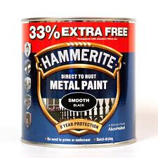 1 L Hammerite Metal Paint Smooth Black - 750ml + 33% EXTRA FREE - 1L Tin