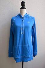 ASICS LS Active Running Workout Super Soft Blue Stretch Hoodie Kangaroo Pouch XL