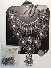 HUGE Statement Bib Necklace/Pierced Earrings Set, Turkish Tribal Medallions NEW