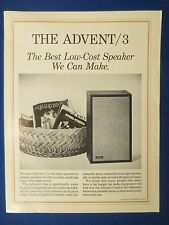 ADVENT / 3  SPEAKER SALES BROCHURE FACTORY ORIGINAL REAL THING