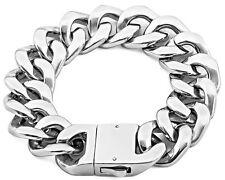 【FROM USA】20mm Rocker Biker Cuban Curb Silver Link 316L Stainless Steel Bracelet